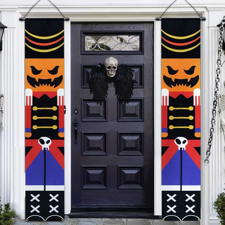 TURNMEON 2020 New 2 PCS Halloween Porch Banner 14''x74'' Front Door Signs Decor Pumpkin Skeleton Soldier Trick Treat Halloween Hanging Banner Wall Outdoor Indoor (Brown)