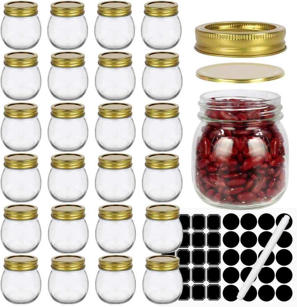 10 oz Regular Mouth Glass Mason Jars with Gold lids, Glass Storage Containers for Jam & Jelly, Honey, Baby Foods,Decor. Set of 24 Pack. Include 1 Pen and 40 Chalk Labels.