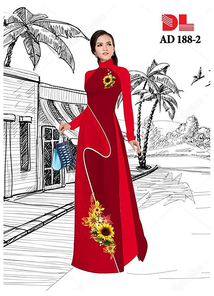 ADVN00166 Traditional Vietnamese Long Dress Collections with Pants All Size Ao Dai Silk 3D