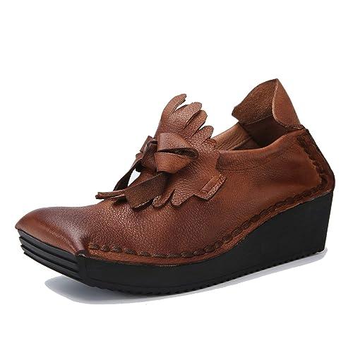 Zapatos de Tobillo de Plataforma Vintage de Mujer Zapatos de mocasín de Cuero Suave de tacón de cuña para Mujer Punta Cuadrada Loafer Flats: Amazon.es: ...