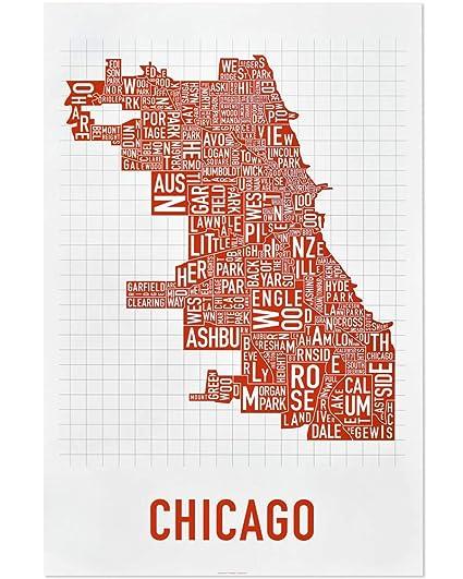 Amazon.com: Chicago Neighborhoods Map Art Poster, Red & White, 24