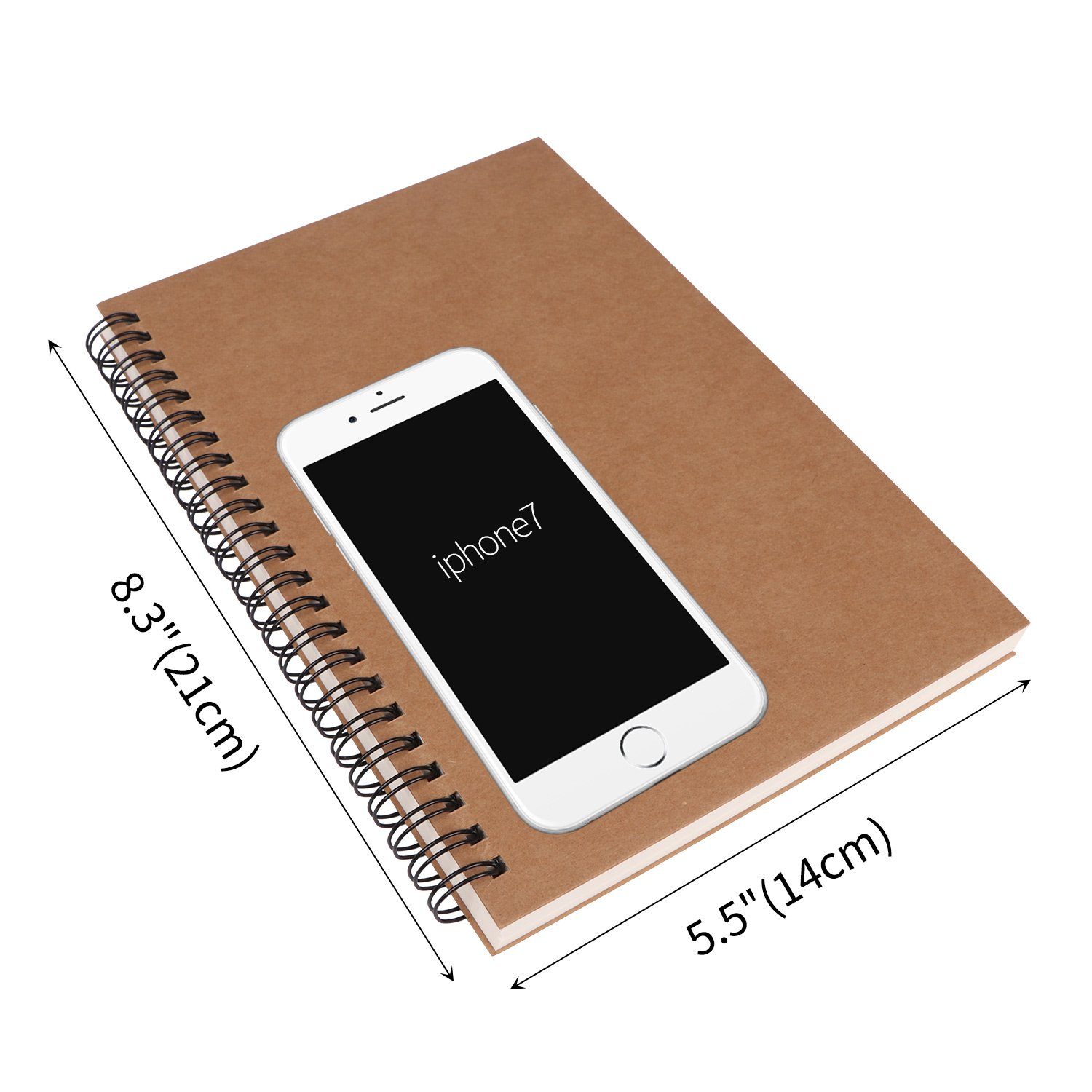 5 x 7inch Sketch Pad Unlined Planner Travel Diary Blank Writing Journal for Drawing Doodling 100 Pages Per Book 3 Pack Spiral Notebook