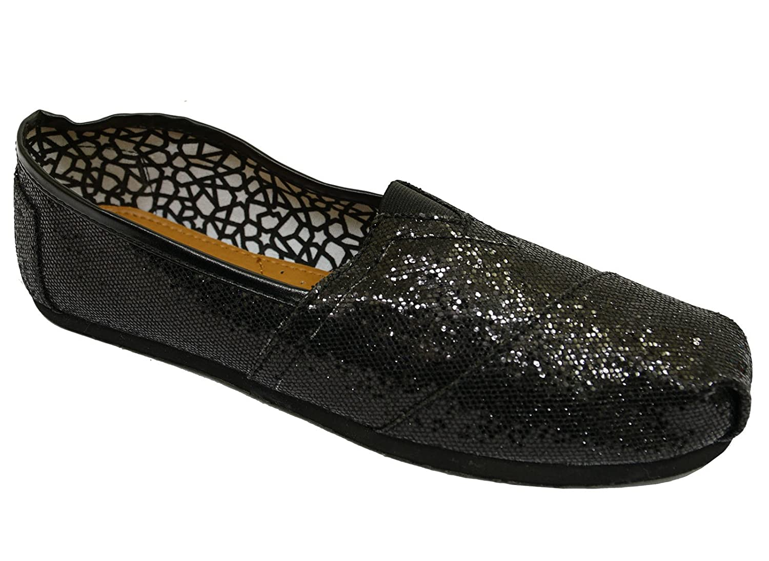 Ladies Flat Black Slip-On Glitter Holiday Comfy Espadrille Pumps Shoes  Sizes 3-8: Amazon.co.uk: Shoes & Bags