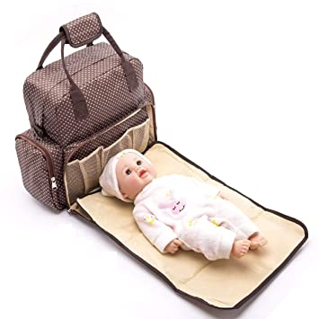 f95bc3e308bcba BabyMoon 5 In 1 Polka Dotes Waterproof Nappy Bag (Chocolate Brown):  Amazon.in: Bags, Wallets & Luggage