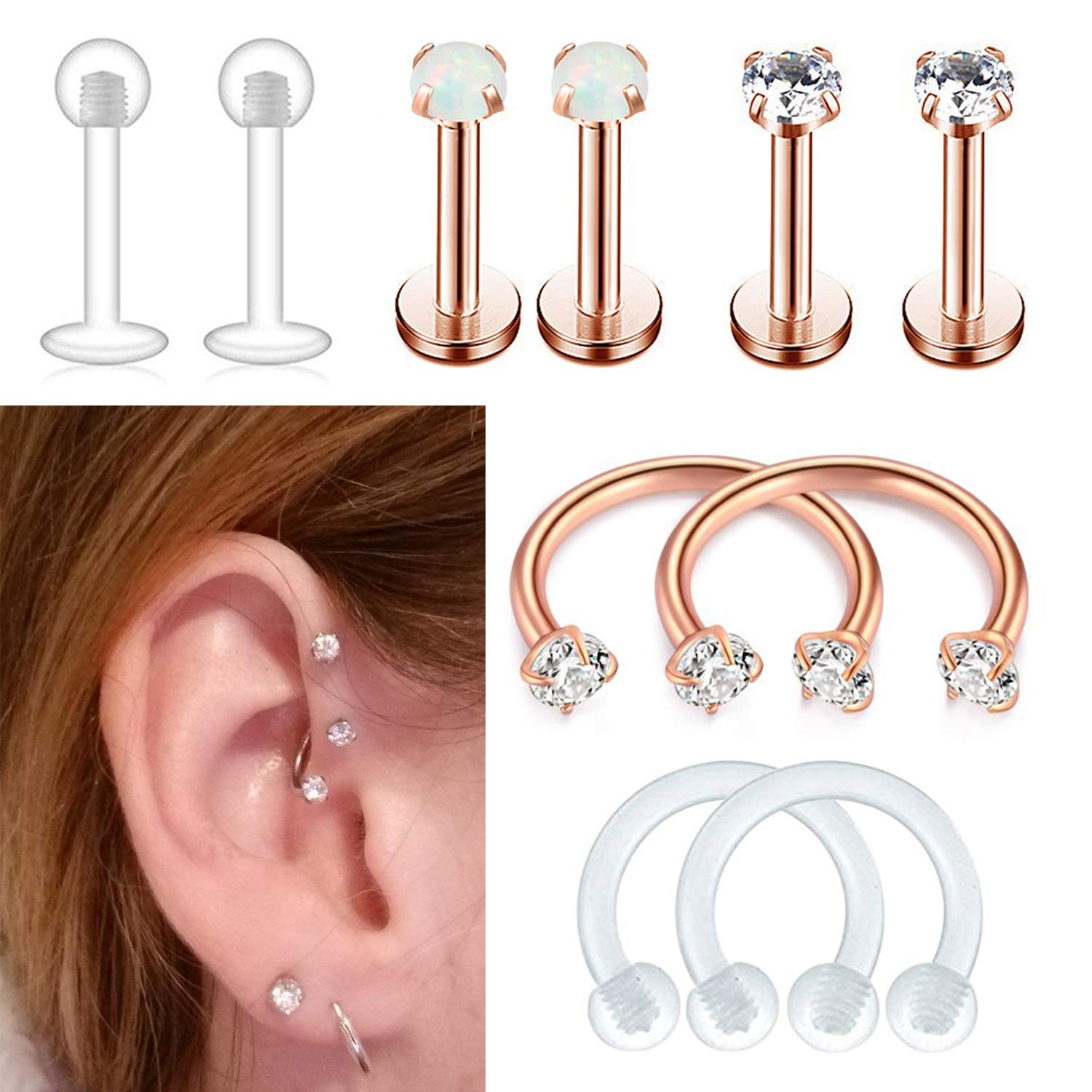 Fibo Steel 10 Pcs 16g Stainless Steel Tragus Piercing Earrings Studs For Women Girls Cartilage Helix Conch Daith Lip Piercing Jewelry Set