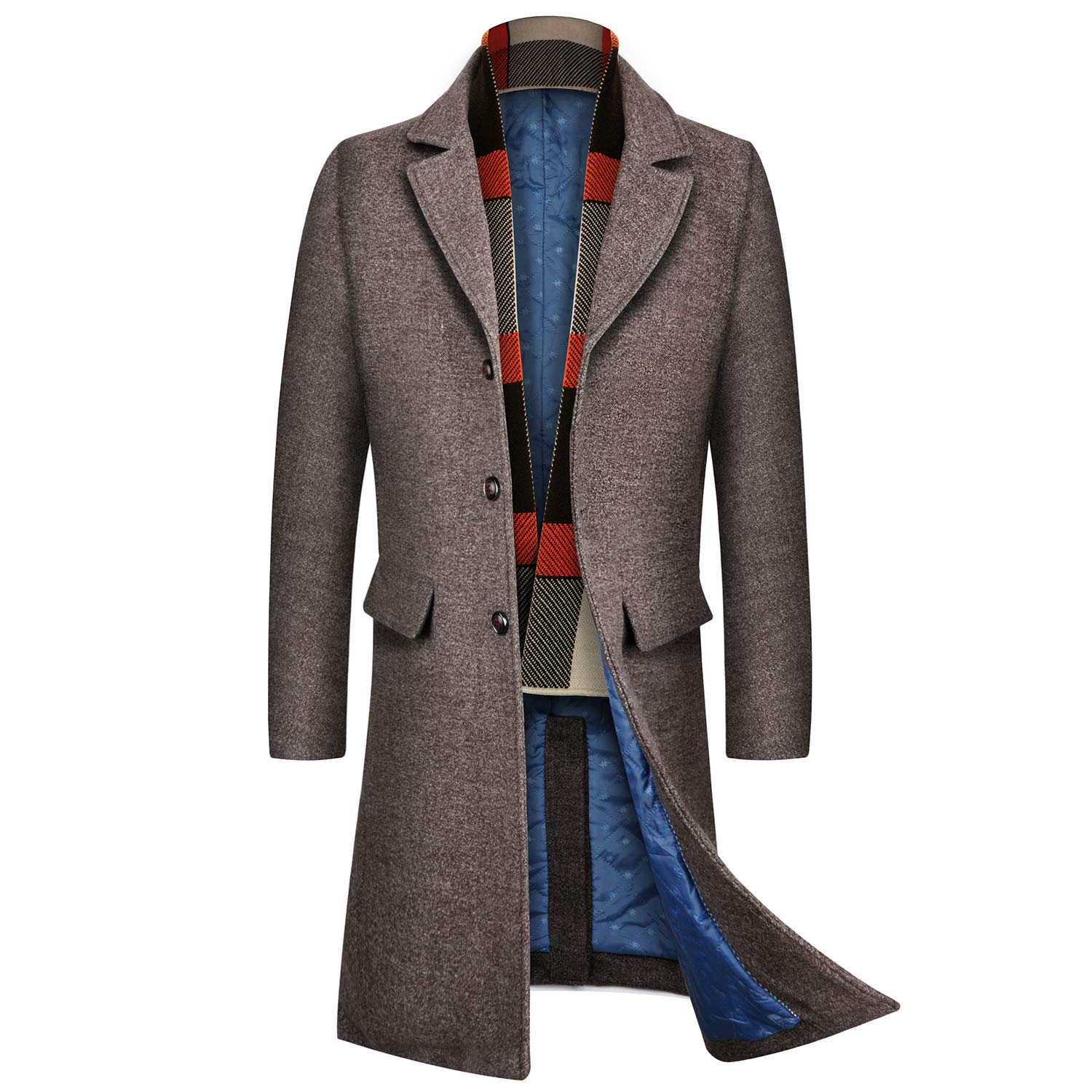 INVACHI Men's Slim Fit Winter Warm Long Wool Coat Business Jacket with Free Detachable Soft Touch Wool Scarf by INVACHI
