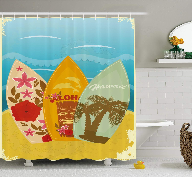 Custom Made Tiki Bar Decor Shower Curtain, Hawaiian Beach Surfboards on Sand Exotic Summer Vacation Sport Vintage Style, Polyester Fabric Shower Curtain for Bathroom, 72 x 84 Inches Blue Mustard