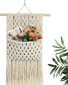 Macrame Magazine Storage Organizer,Macrame Wall Holder,Macrame Flowers Storage Key Organizer Mail Holder Bohemia Chic Home Decor Art Wall Handmade Woven Wall Hanging for Apartment,Living Room,Bedroom