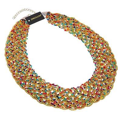 187f0a33e1ed1 Jerollin Bijoux Rétro Femme Collier Femme Fantaisie Gros Collier Chaine  ,Porte Collier de Perle Tisses