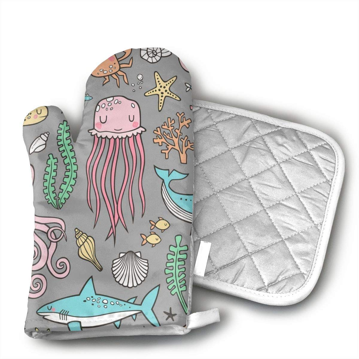 Wiqo9 Ocean Sea Life Oven Mitts and Pot Holders Kitchen Mitten Cooking Gloves,Cooking, Baking, BBQ.