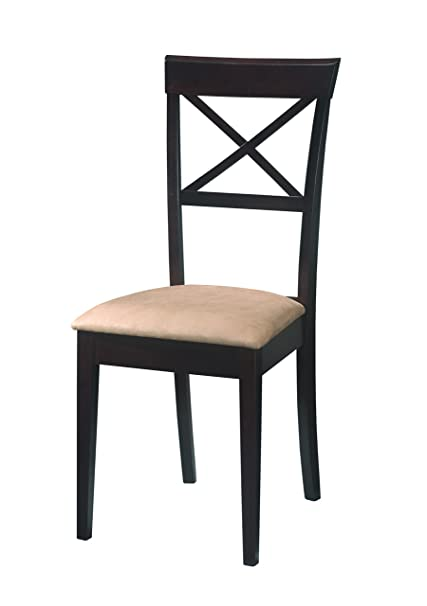 Captivating Coaster Dining Chairs, Cross Back Design, Dark Cappuccino, Set Of 2
