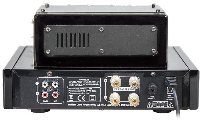 Madison MAD-TA10BT - Amplificador (estéreo de válvulas 2 x 25 W rms), color negro