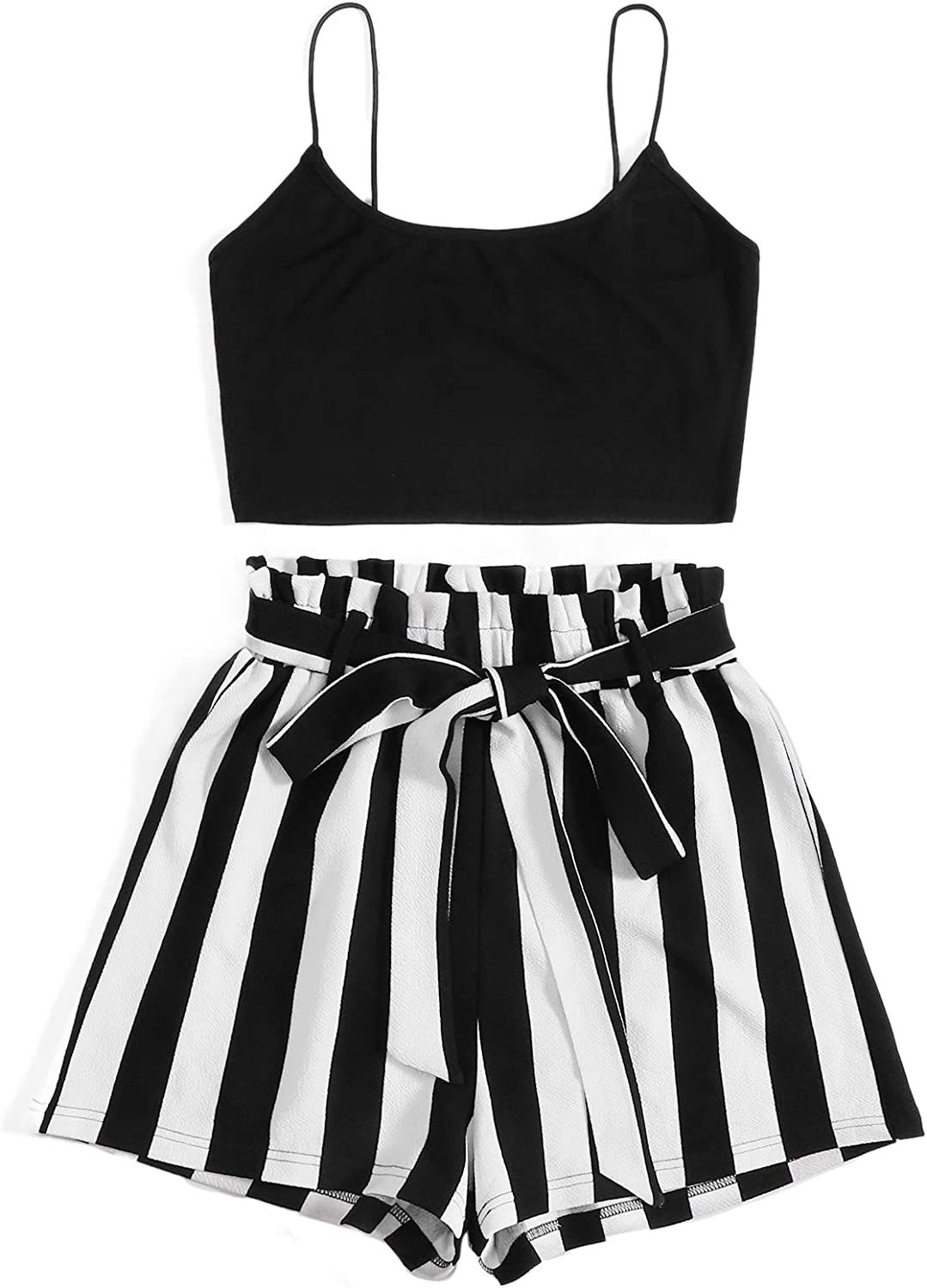SweatyRocks Women's 2 Piece Outfits Strappy Crop Top with Striped Shorts Set