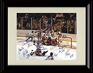 Framed Miracle on Ice 1980 US Olympic Hockey Team Autograph Replica Print