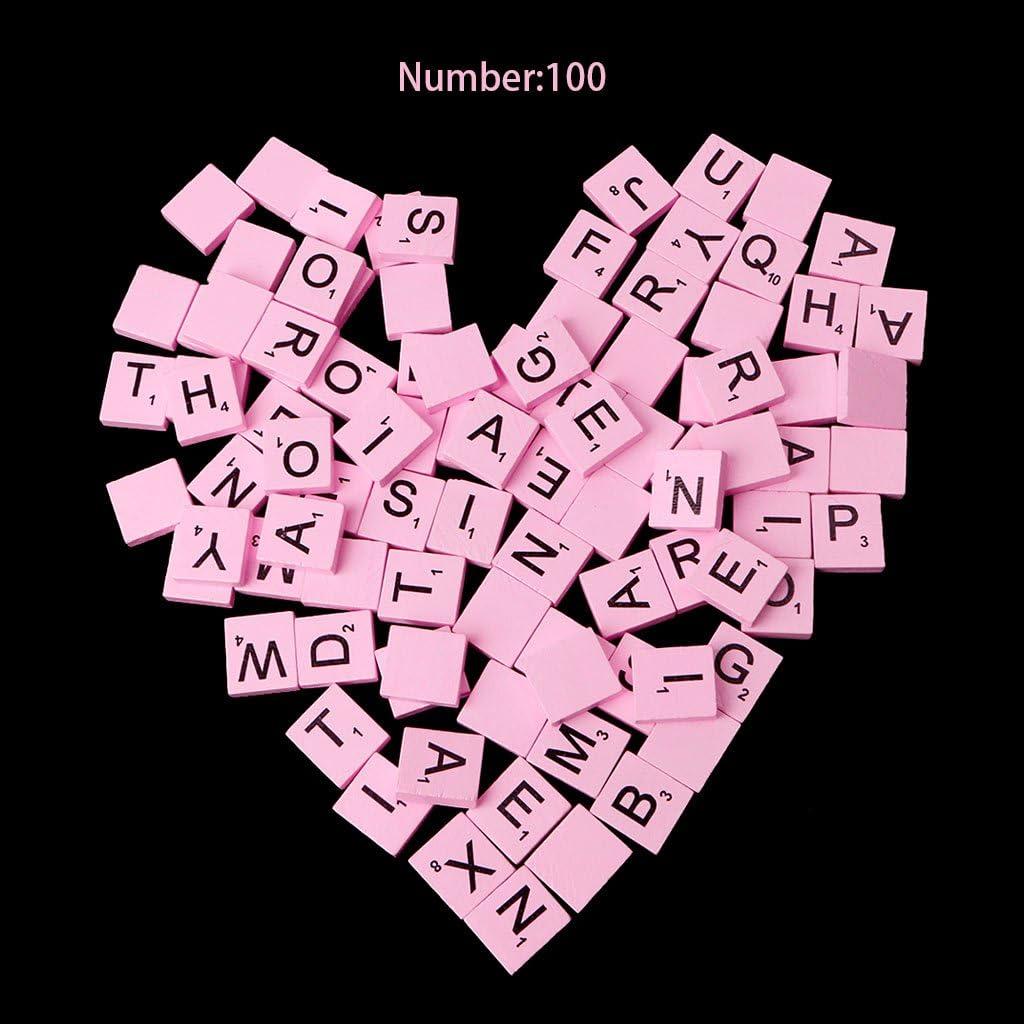 jackyee Green Standard Letter Box 100Pc-piece Wooden Colourful Scrabble Tiles Mix Letters Varnished Alphabet Scrabbles