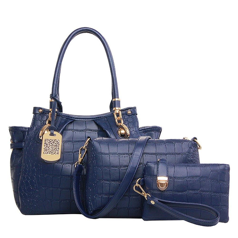Top Shop Womens Alligator Candy Shoulder Handbag Tote Bags Hobo Blue Clutch Three-pieces set by TOP SHOP BAG