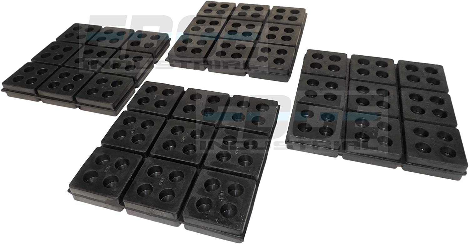 "HEAVY DUTY ANTI VIBRATION ISOLATION PADS 6"" X 6"" X 3/4"" ALL RUBBER WAFFLE TYPE, QUANTITY 4"