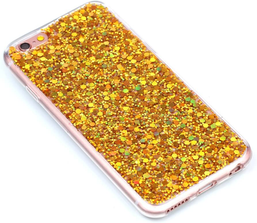 for iPhone 6//6S Case Luxury Bling Glitter Sparkle Shiny Transparent Clear Flexible Soft Rubber TPU Protective Cover Red