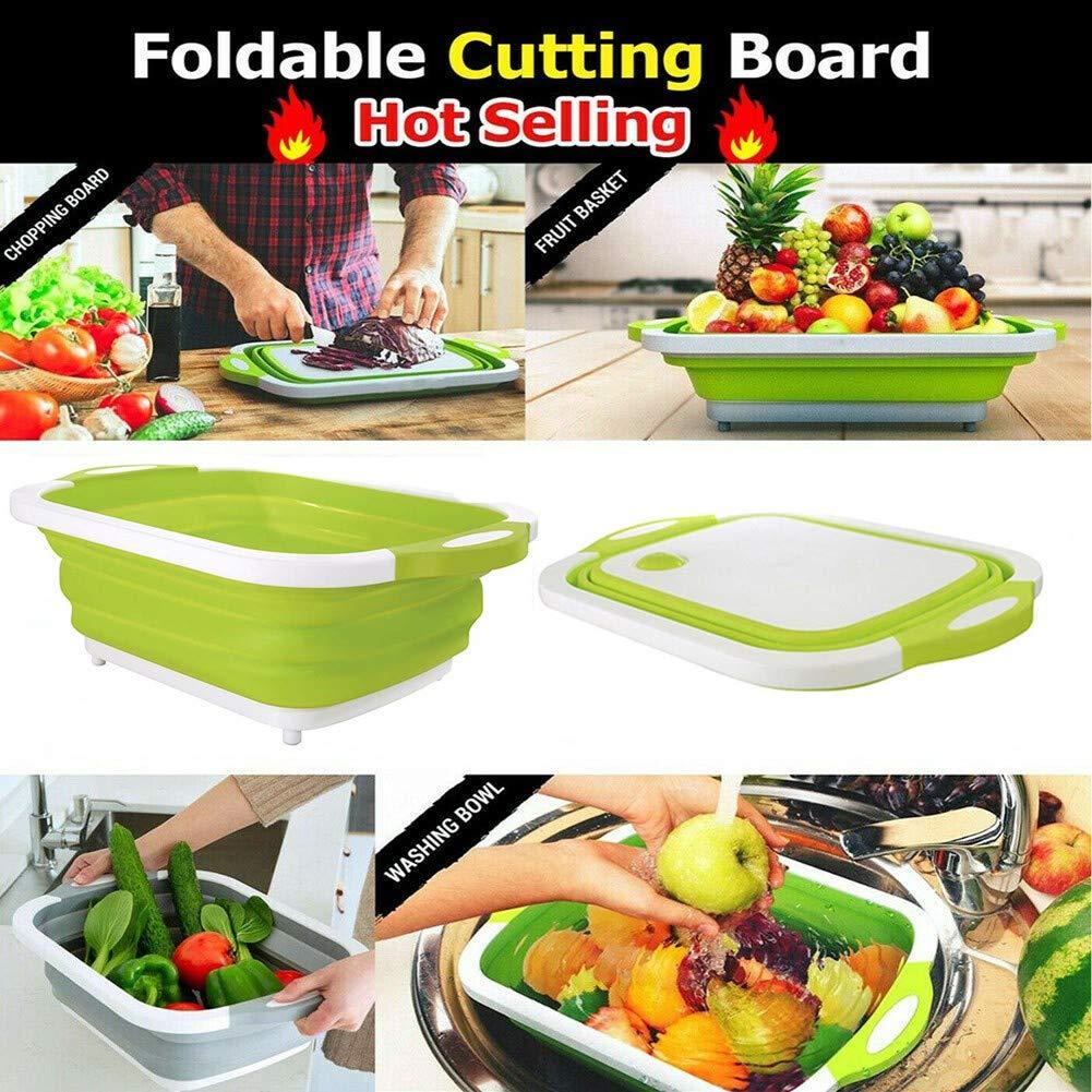 Cutting Board,Multifunction Collapsible Cutting Board Drain Basket Vegetable Basin Portable Tub. RollingBronze Multi-Function Folding Cutting Board Drain Basket,Folding Drain Basket