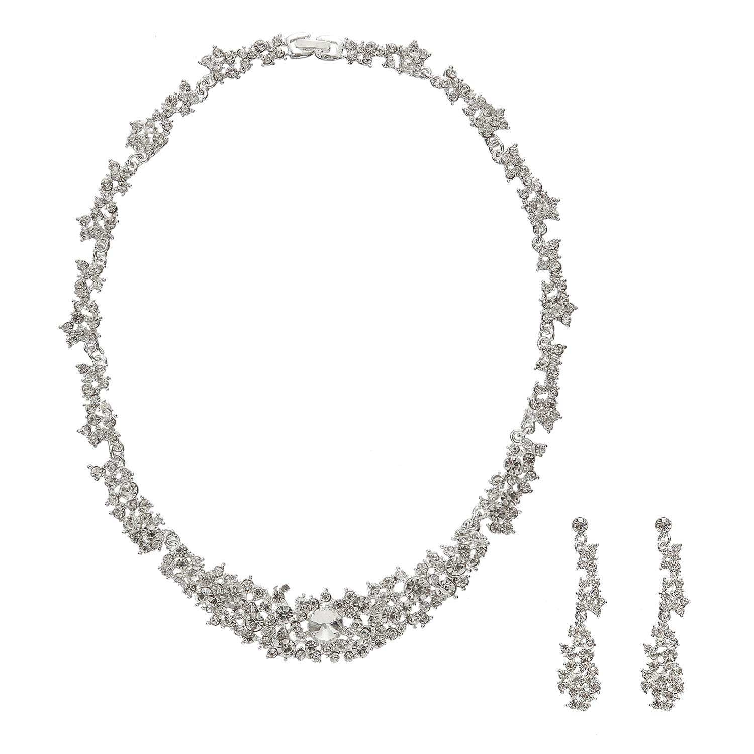 Metme Rhinestone Crystal Necklace and Earrings Wedding Jewelry Set Gifts Prom Accessories