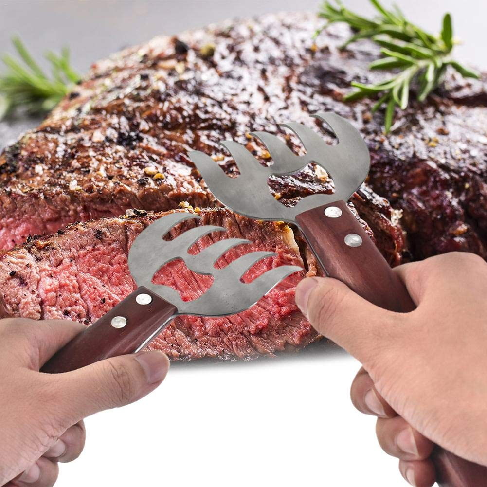 Metal Claws Meat Shredder Barbecue Forks Metal Claws Stainless Steel Meat Shredder And Forks With Wood Handle And Bottle Opener Barbecue Tools For Easily Shredding Pulling Lifting