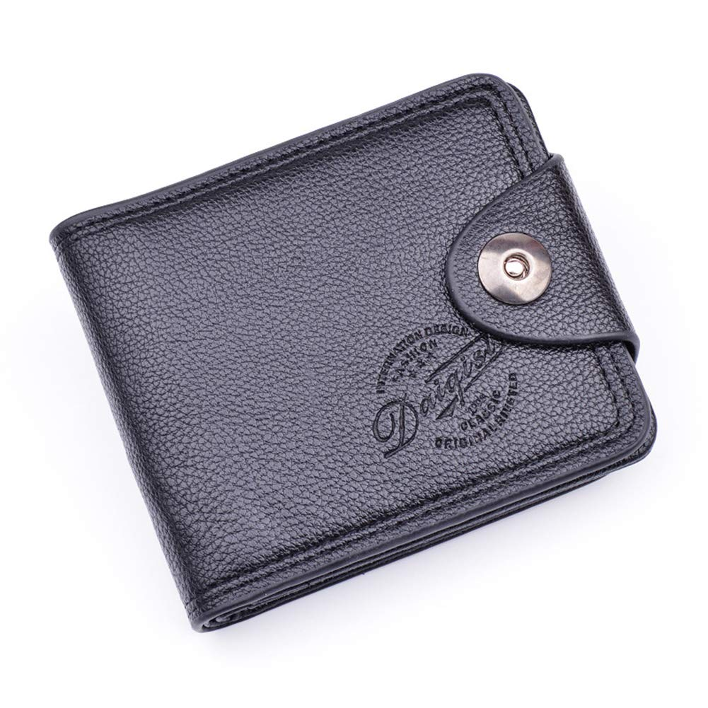 Infgreate Durable And Stylish Business Men Bifold Faux Leather Snap Button Short Wallet Cash Card Holder Purse