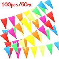 ZoneYan Banderines Decoración, Bunting Banner, Banderín Multicolor 50M