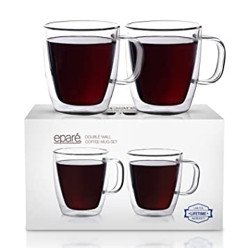 3541276f98a Eparé Coffee Mugs - Clear Glass Double Wall Cup Set - Insulated Glassware -  Best Large Coffee Espresso Latte Tea Glasses