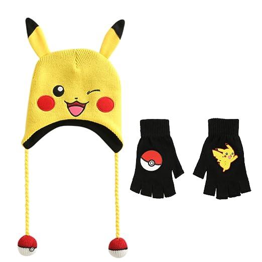 Pokemon Pikachu Laplander Beanie Hat and Fingerless Gloves Set at ... 7baabdf93