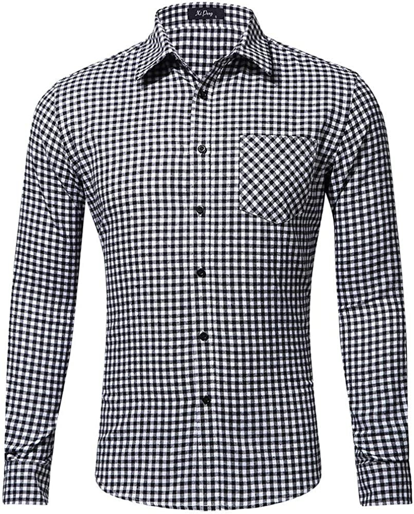 Camisa Hombre Cuadros Slim Fit Manga Larga Botones Invierno Camiseta Vestir Tops Blouse Moda Casual Formal (S, Blanco): Amazon.es: Ropa y accesorios