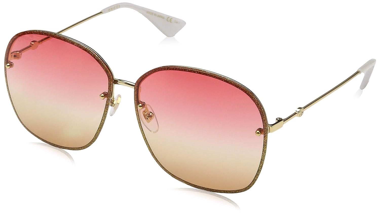 709ac8b5bb Amazon.com  Gucci sunglasses (GG-0228-S 005) Glitter Red - Glitter Gold -  Plum Gradient lenses  Clothing