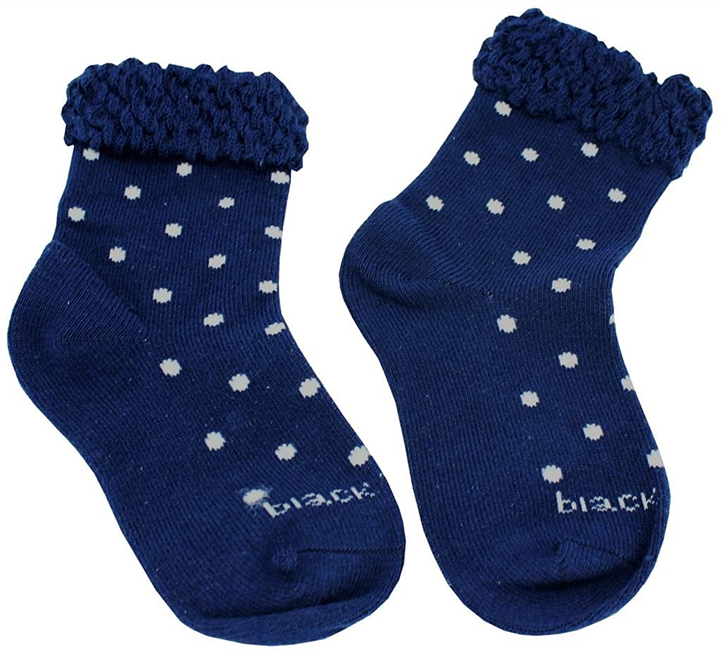 AmazingUSA Little Girls Cotton Dot Ruffle Socks Blue Red Black