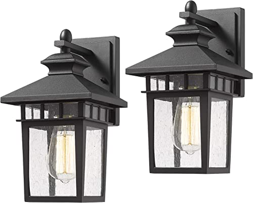Beionxii Outdoor Wall Mount Lights 2-Pack Exterior Porch Light Fixture, Sanded Black Cast-Aluminum with Seeded Glass, A117W-2PK