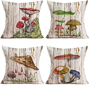 """Hopyeer 4Pack Vintage Rustic Wood Spring Mushroom Decor Throw Pillow Cushion Case Cover Cotton Linen Forest Meadow Truffle Herbaceous Plant Pillow Covers Outdoor Home Pillowcase 18""""x18"""" (W-Mushroom)"""