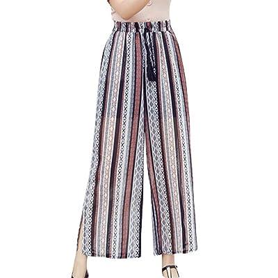 Primavera Verano Elegantes Moda Mujer Pantalones De Tiempo Libre Estampadas Flor Abiertas Elastische Taille Bastante Chiffon Anchos Cómodo Largos Pants Pantalones De Cintura Alta Moda Joven Moderno: Ropa y accesorios