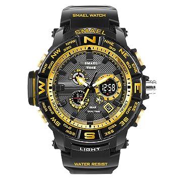 Blisfille Reloj Hombre Negro y Dorado Reloj Electronico Reloj de Goma Digital Relojes Oro Rosa Mujer