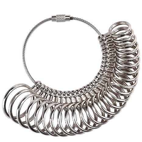 f688f54a799a Meowoo Medidor Anillos Dedo Ring Sizer Medidor para Reino Unido Anillos  Dedo Mandril Calibrador (Anillo