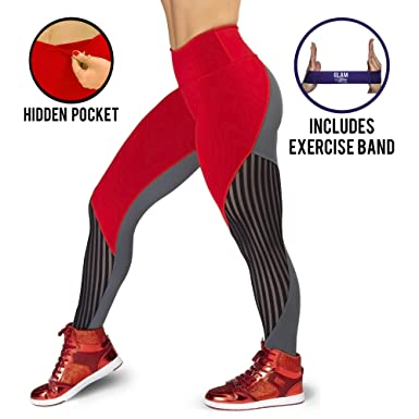 a86a62da6490f Amazon.com: Glam You Non See Through High Waist Shapewear Leggings w/  Hidden Pocket. Running Fitness Yoga Pants. Includes Workout Band!: Clothing