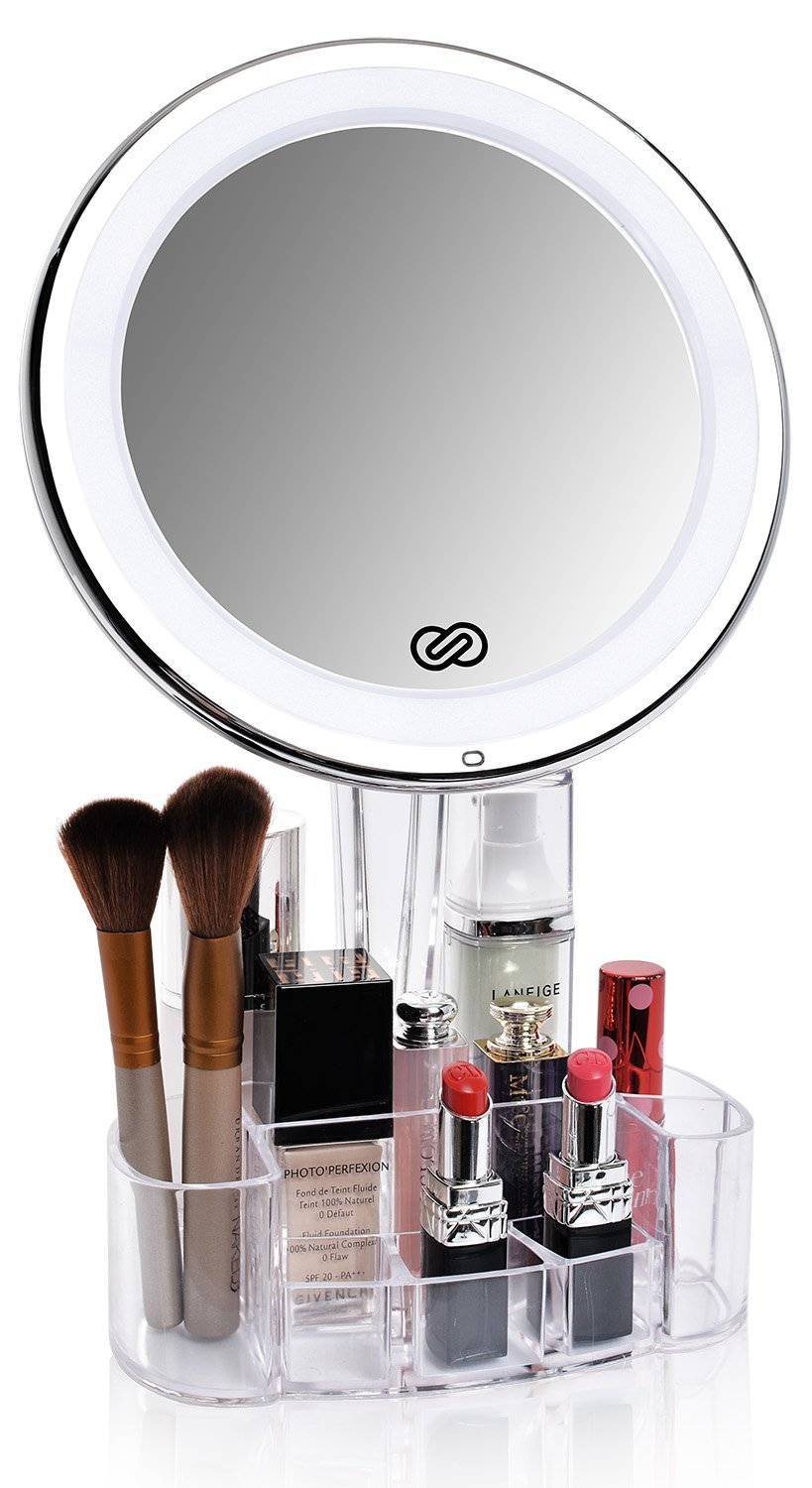 Amazon : Sanheshun 7X Magnifying Lighted Makeup Mirror With Vanity Tray  Stand, Touch Activated, Battery Operated : Beauty