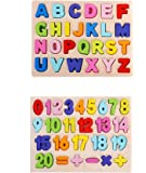 Lazy Toddler Educational Wooden Alphabets and Number Board for Kids (Alphabet & Number Set)