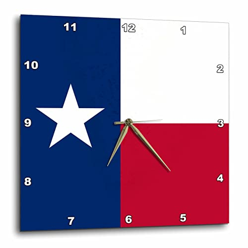 3dRose DPP_158447_3 Flag of Texas TX US American United State of America USA Blue Red White The Lone Star Flag Wall Clock, 15 by 15
