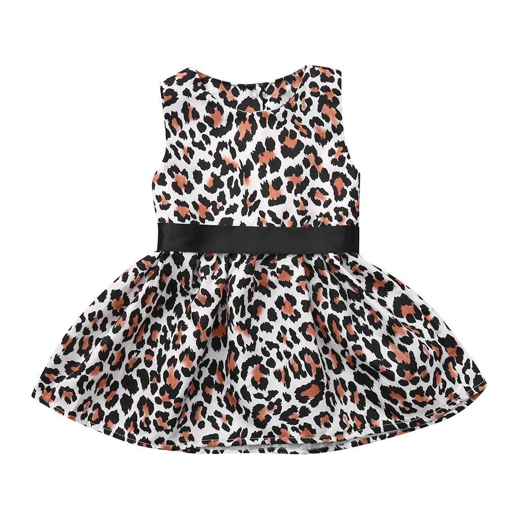 Vestido sin manags Ropa Bautizo Verano Fiesta Boda Vestido para Bebes ni/ñas beb/é ni/ña Princesa Vestido de Leopardo