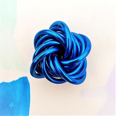 Möbii Cobalt: Small Mobius Hand Fidget Toy, Shiny Blue Stress Ball for Restless Hands, Office Toy