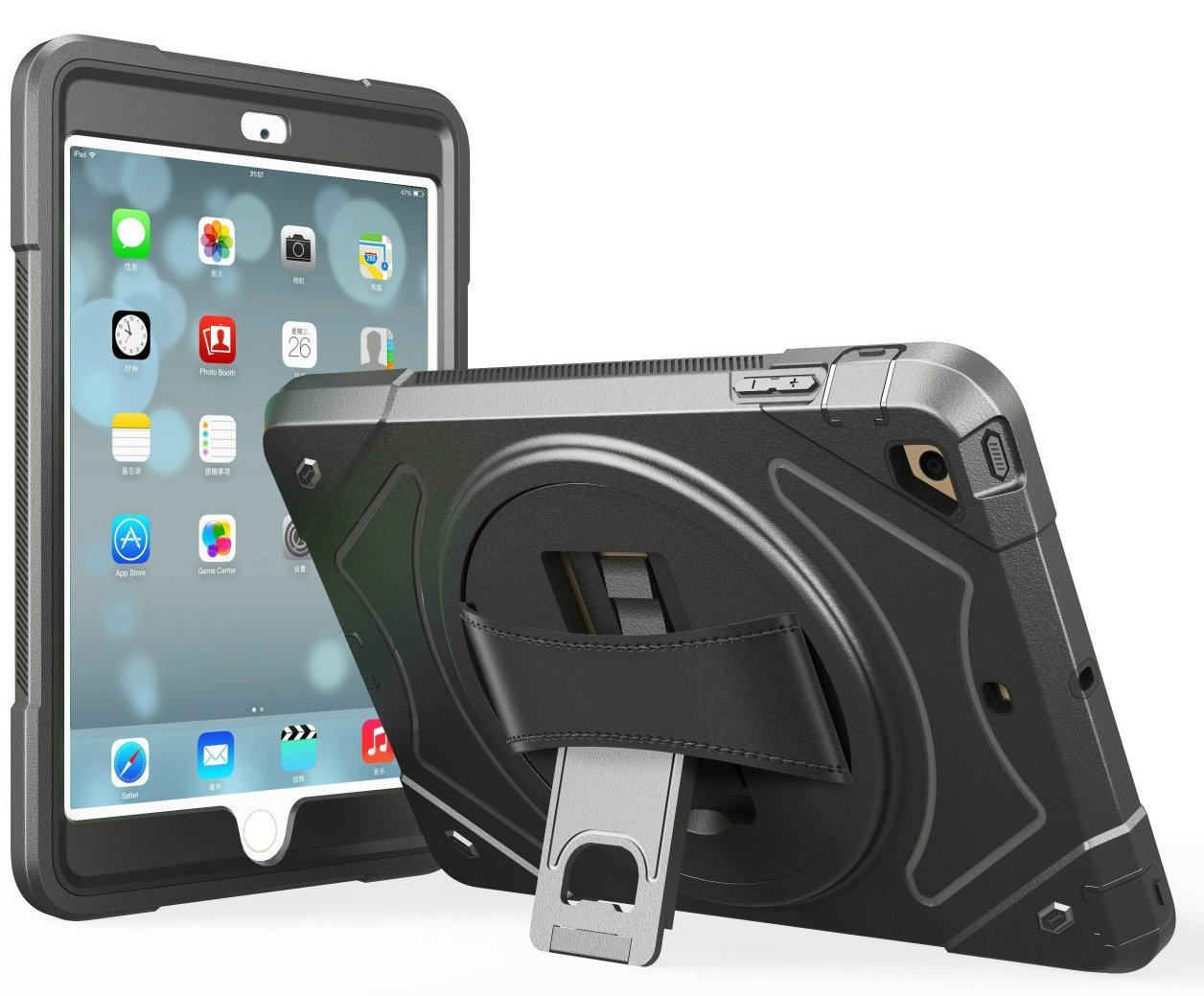 moona Apple iPad 2 3 4 and Retina Case, Hybrid Full Body 3 Layer Armor Protective ShockProof iPad Case Cover with Hand Grip and Rotating KickStand by moona
