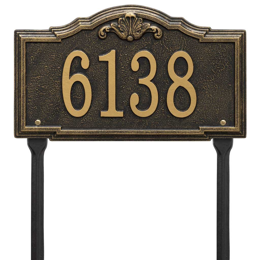 Comfort House Address Sign with Lawn Stakes - Decorative Metal Address Plaque Personalized With Your House Number P2886lawn