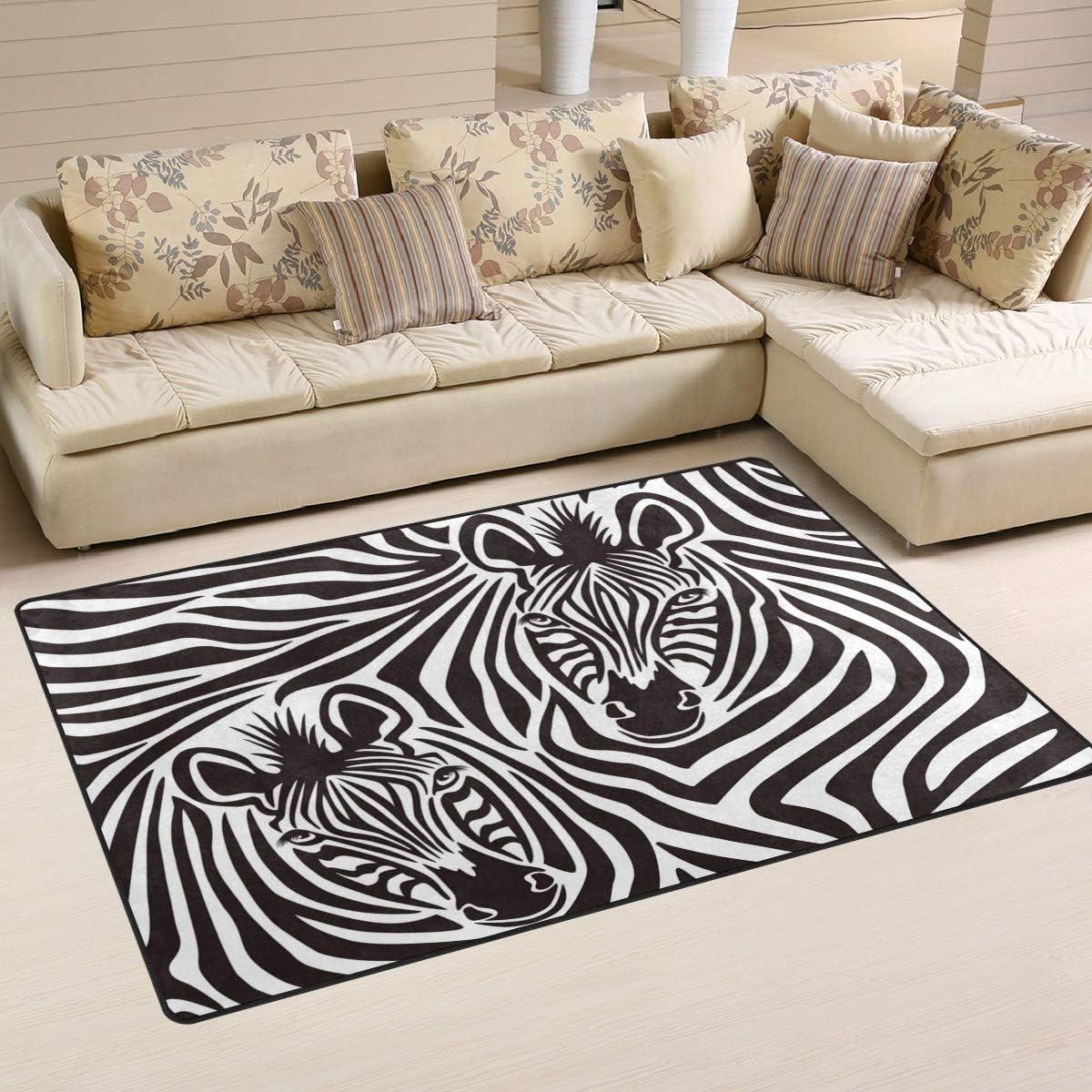 Linomo Area Rug Zebra Print Floor Rugs Doormat Living Room Home Decor Carpets Area Mats For Kids Boys Girls Bedroom 60 X 39 Inches Amazon Ca Home Kitchen