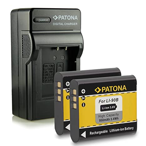 Bundle - 4en1 Cargador + 2x Batería Li-90B para Olympus Stylus Creator XZ-2   Stylus Traveller SH-50   Stylus Tough TG-1 / TG-2