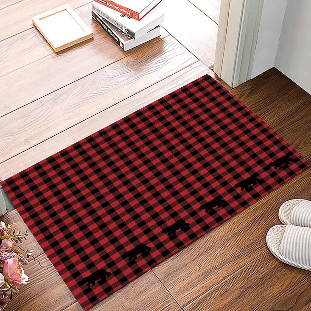 Libaoge Indoor Doormat Absorbs Mud Latex Backing Non Slip Door Mat Buffalo Check Plaid Bear Black and Red Kitchen Bathroom Entryway Rugs for Patio & Front Door - 16x24in…