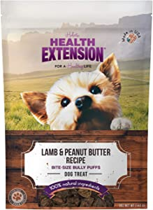 Health Extension Bully Puffs Dog Treat, Lamb And Peanut Butter, 5 Oz/142 G
