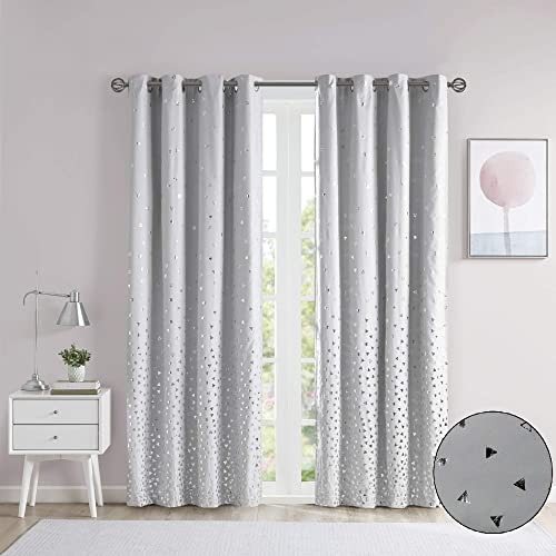 Intelligent Design Zoey Blackout Curtains Metallic Print Grommet Top Window Panel Living Room Thermal Insulated Light Blocking Drape for Bedroom and Apartments, 50 x 84 , Grey Silver